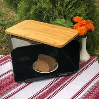 Металевий чорний хлібник з дошкою для нарізки 35*20*21 см