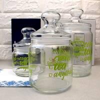 Набор стеклянных банок с салатовыми надписями Luminarc Jar Pot Club Coffee Tea 3 шт 0,5+0,75+1 л (p6667)