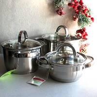 Набор кастрюль Kamille посуда из нержавеющей стали 3 кастрюли для приготовления пищи для индукции