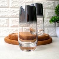Набор высоких черно-перламутровых стаканов с гальваническим эффектом 2 шт, перламутровые стаканы