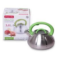 Чайник Kamille 3 л зі свистком і скляною кришкою для індукції (кольори mix)