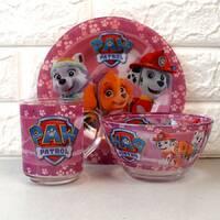 Набір дитячого посуду для дівчаток 3 предмети з мульт-героями Щенячий патруль, різноколірний