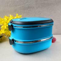 Блакитний ланч бокс обідній подвійний 1800 мл з нержавіючої сталі Kamille