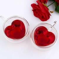 Набор чашек с сердцем внутри 300 мл 2 шт Ardesto (AR2630GHL), чашки с двойными стенками