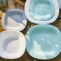 Набор столовий біло-блакитний Luminarc Carine Light Turquoise & White 19 предметів (P7627)