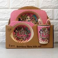 Подарочный набор посуды для девочки из эко-бамбука 5 предметов Lol HLS (4309)