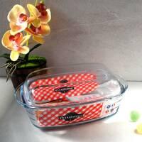 Жароміцна скляна форма для духовки з кришкою 4.5 л Cuisine, скляна каструля