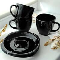 Чорний чайний набір чашок з квадратними блюдцями Luminarc CARINE Black 6х220 мл (p4672)
