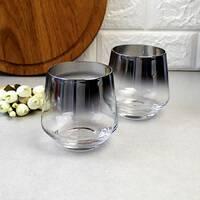 Набор низких черных стаканов с гальваническим эффектом 2 шт, перламутровые стаканы