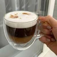 Набор чайных чашек с двойными стенками 300 мл 2 шт Ardesto (AR2630GHN), чашки с двойным дном
