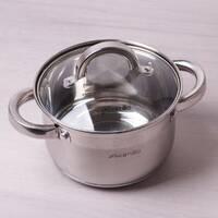 Кастрюля для индукции 2.1 л из нержавеющей стали с крышкой и полыми ручками Kamille