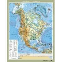 Америка Північна. Фізична на картоні ламінована, м-б 1 : 8 000 000