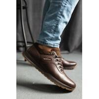 Мужские кроссовки кожаные весна/осень коричневые Bumer 101