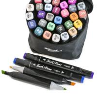 Набор скетч-маркеров 36 шт для рисования двусторонних Touch Черный