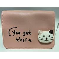 Стильна жіноча сумка з котиком D5053 Пудра