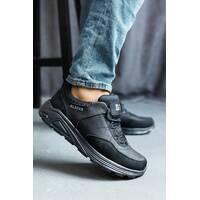 Мужские кроссовки кожаные весна/осень черные Emirro 032 на высокой подошве