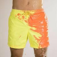 Шорти хамелеон для плавання, пляжні чоловічі спортивні шорти міняють колір ЖОВТО-ПОМАРАНЧЕВІ Розмір M