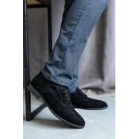 Чоловічі туфлі замшеві весна/осінь чорні Vankristi 337 на шнурках