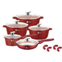 Набор кастрюль и сковорода Higher Kitchen HK-305, Набор посуды с гранитным антипригарным покрытием КРАСНЫЙ