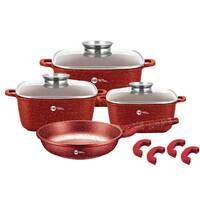 Набор кастрюль и сковорода Higher Kitchen HK-312, Набор посуды с гранитным антипригарным покрытием КРАСНЫЙ