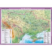 Україна. Фізична карта, м-б 1 : 1 000 000 (на картоні що ламінує на планках)