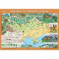 Рідна Країна. Рослини та тварини України. 65х45 см М 1: 2 500 000. Картон