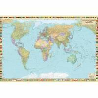 Политическая карта мира, м-б 1:22 000 000 (на капі в рамі ) 158.00 X 108.00см 2019
