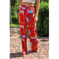 Crep Летние брюки женские палаццо  - коралловый цвет, M