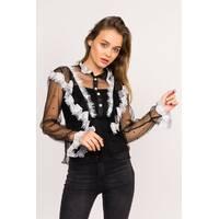 LUREX Прозрачная блузка с рюшами - черный цвет, S
