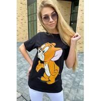 LUREX Молодежная футболка с рисунком Джерри - черный цвет, S