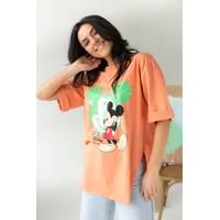 LUREX Удлиненная футболка с ярким принтом - коралловый цвет, S