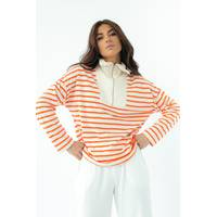 Enjoy Carnavale Жіноча смугаста кофта з високим коміром на замку - помаранчевий колір, M