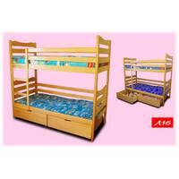 Двох'ярусне ліжко з натурального дерева Л16