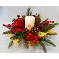 """Композиція А-27: новорічна """"яблуко"""" зі свічкою"""