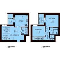 Двухуровневая квартира площадью 99,5 м2