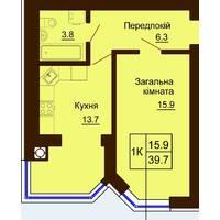 Однокімнатна квартира загальною площею 39,7 м2