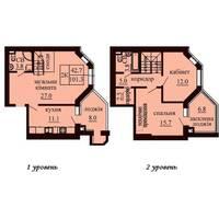 Дворівнева квартира площею 101,3 м2