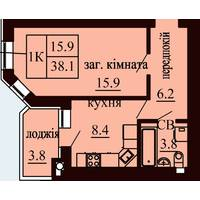 Однокімнатна квартира загальною площею 38,1 м2