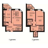 Двухуровневая квартира площадью 90,5 м2