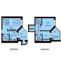Двухуровневая квартира площадью 81,8 м2