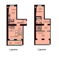 Дворівнева квартира площею 100,6 м2