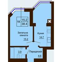 Однокімнатна квартира загальною площею 38,4 м2