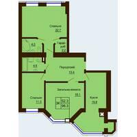 Трикімнатна квартира загальною площею 96,3 м2