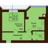 Однокімнатна квартира загальною площею 45,6 м2