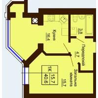 Однокімнатна квартира загальною площею 40,6 м2