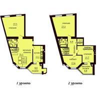 Двухуровневая квартира площадью 166,8 м2