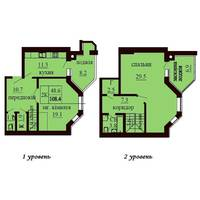 Двухуровневая квартира площадью 108,4 м2