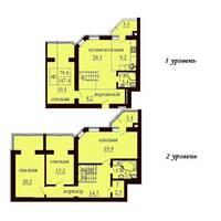 Двухуровневая квартира площадью 147,4 м2