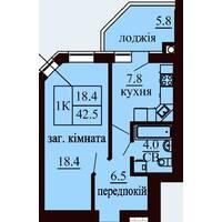 Однокімнатна квартира загальною площею 42,5 м2