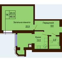Однокімнатна квартира загальною площею 46,9 м2